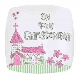 Pink Christening Church Plate