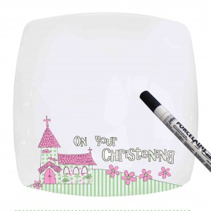 Pink Christening Church Message Plate