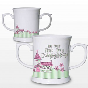 Pink First Holy Communion Church Loving Mug