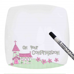 Pink Confirmation Church Message Plate