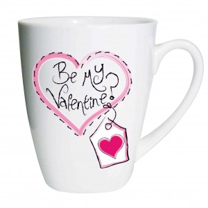 Heart Stitch Be My Valentine Latte Mug