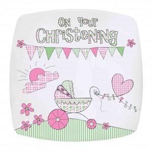 Whimsical Pram Christening Plate