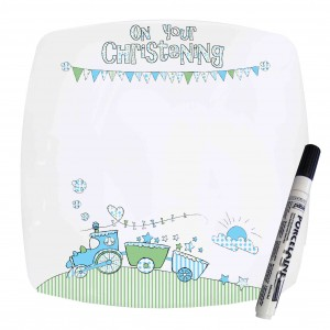 Whimsical Train Christening Message Plate