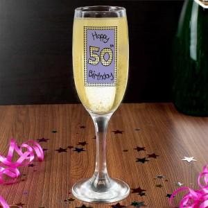 Lilac 50th Happy Birthday Flute