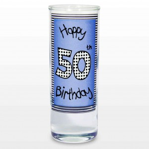 Blue 50th Happy Birthday Shot Glass