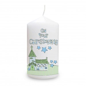 Blue Christening Church Candle