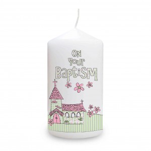Pink Baptism Church Candle