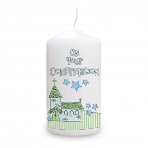 Blue Confirmation Church Candle