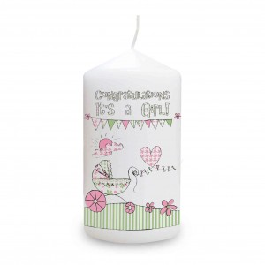 Whimsical Pram Its a Girl Candle
