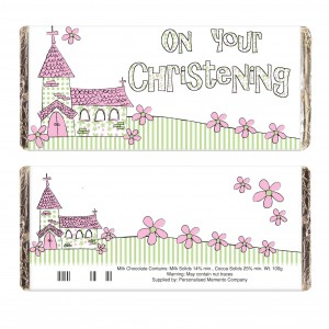 Pink Church Christening Milk Chocolate Bar