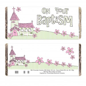 Pink Church On Your Baptism Milk Chocolate Bar
