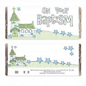 Blue On Your Baptism Church Milk Chocolate Bar