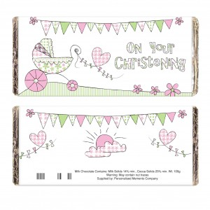 Whimsical Pram Christening Milk Chocolate Bar