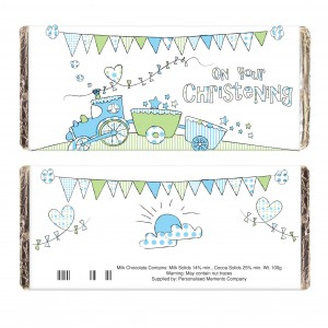 Whimsical Train Christening Milk Chocolate Bar