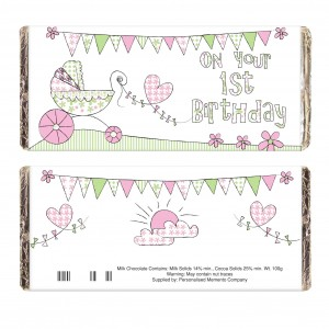 Whimsical Pram 1st Birthday Milk Chocolate Bar