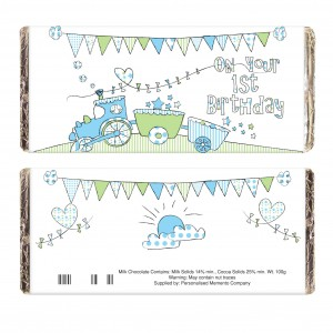 Whimsical Train 1st Birthday Milk Chocolate Bar