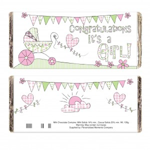 Whimsical Pram Its a Girl Milk Chocolate Bar