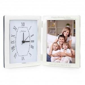 Silver Clock & 6x4 Photo Frame