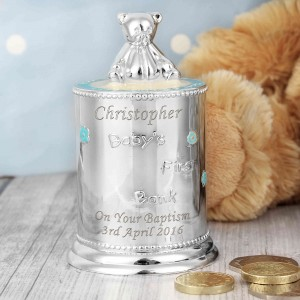 Blue Teddy Bear Money Box