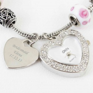 Pink Watch Charm Bracelet 18cm