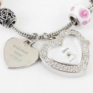 Pink Watch Charm Bracelet 21cm