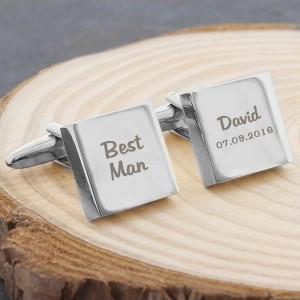Wedding Role Square Cufflinks - 2 line