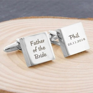 Wedding Role Square Cufflinks -3 lines