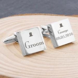 Decorative Wedding Groom Square Cufflinks