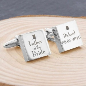 Decorative Wedding Father of the Bride Square Cufflinks