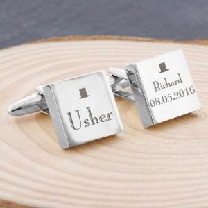 Decorative Wedding Usher Square Cufflinks