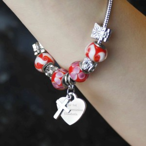 Cross Charm Bracelet - Cherry Red - 18cm