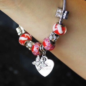 Butterfly & Heart Charm  - Cherry Red - 18cm