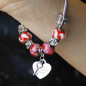 Key Charm Bracelet - Cherry Red - 21cm