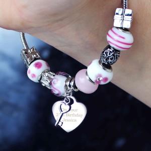 Key Charm Bracelet - Candy Pink - 18cm