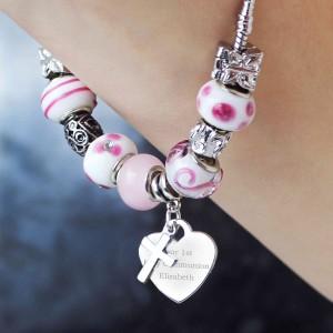 Cross Charm Bracelet - Candy Pink - 21cm