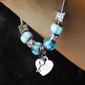 Key Charm Bracelet - Sky Blue - 18cm
