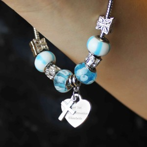 Cross Charm Bracelet - Sky Blue - 21cm