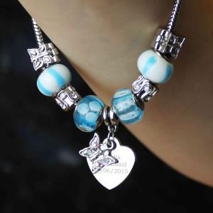Butterfly & Heart Charm Bracelet - Sky Blue - 21cm