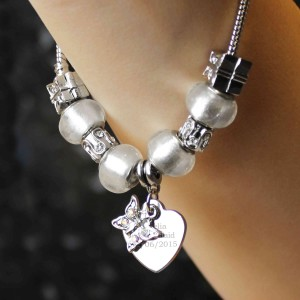 Butterfly & Heart Charm Bracelet - Ice White - 18cm