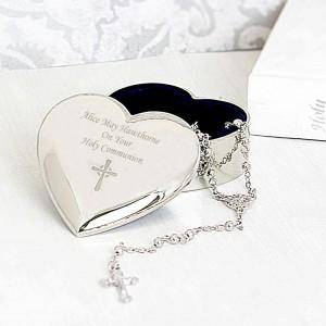 Rosary Beads and Cross Heart Trinket