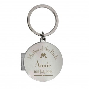 Decorative Wedding Mother of the Bride Round Photo Keyring
