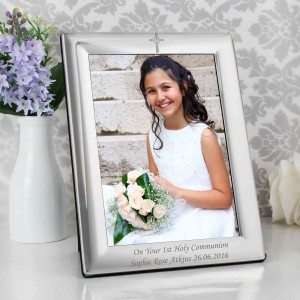 Silver 5x7 Cross Photo Frame