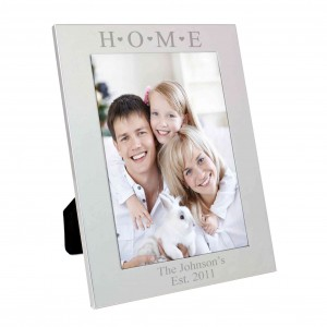 Silver 5x7 Home & Hearts Photo Frame
