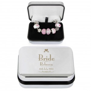 Decorative Wedding Bride Silver Box and Pink 21cm Charm Bracelet