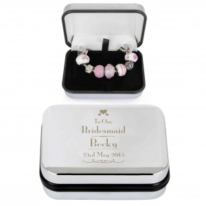 Decorative Wedding Bridesmaid Silver Box and Pink 21cm Charm Bracelet