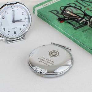 Compass Round Travel Clock
