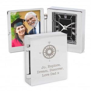 Compass Photo Frame Travel Clock 4.5cm x 5cm