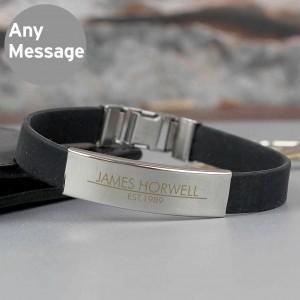 Classic Male Rubber & Steel Bracelet