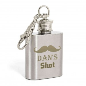 Moustache 1oz Hip Flask Keyring