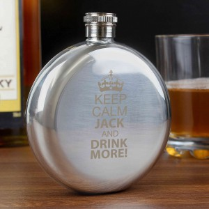 Keep Calm Round Hip Flask